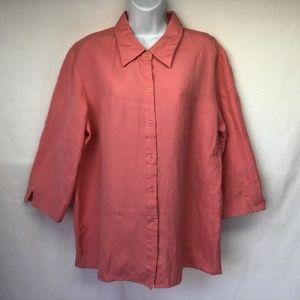 Susan Graver Women's Blouse Pink 3/4 Sleeve L